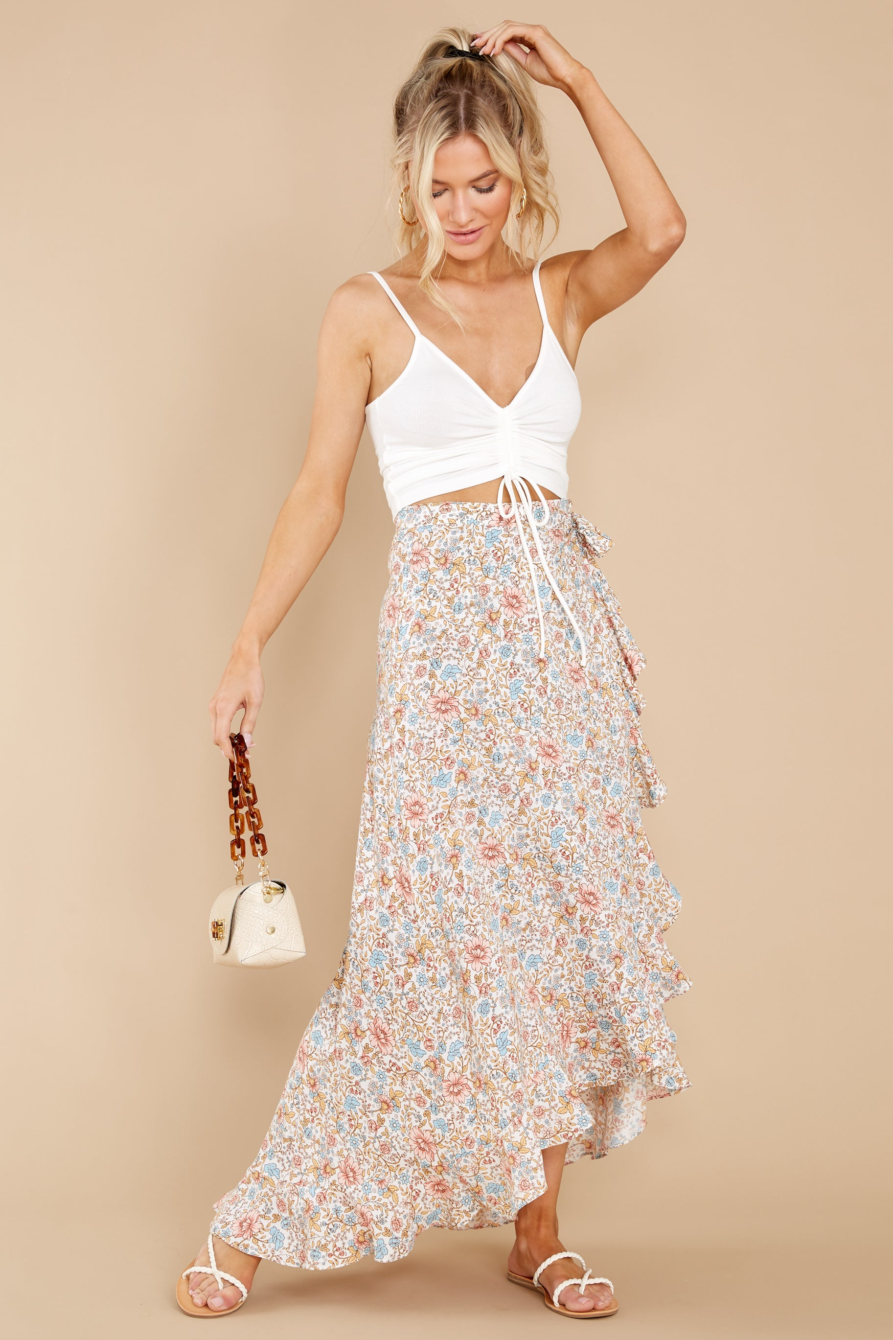 4 Boardwalk Stroll White Floral Print Skirt at reddress.com