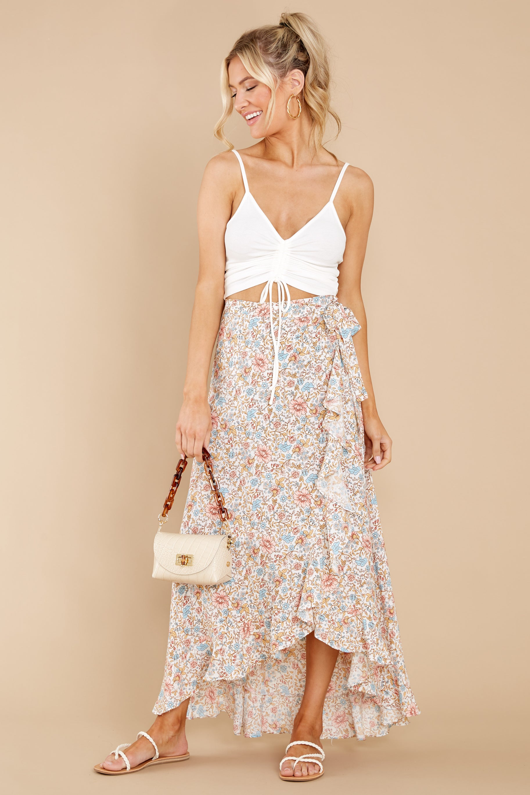 5 Boardwalk Stroll White Floral Print Skirt at reddress.com