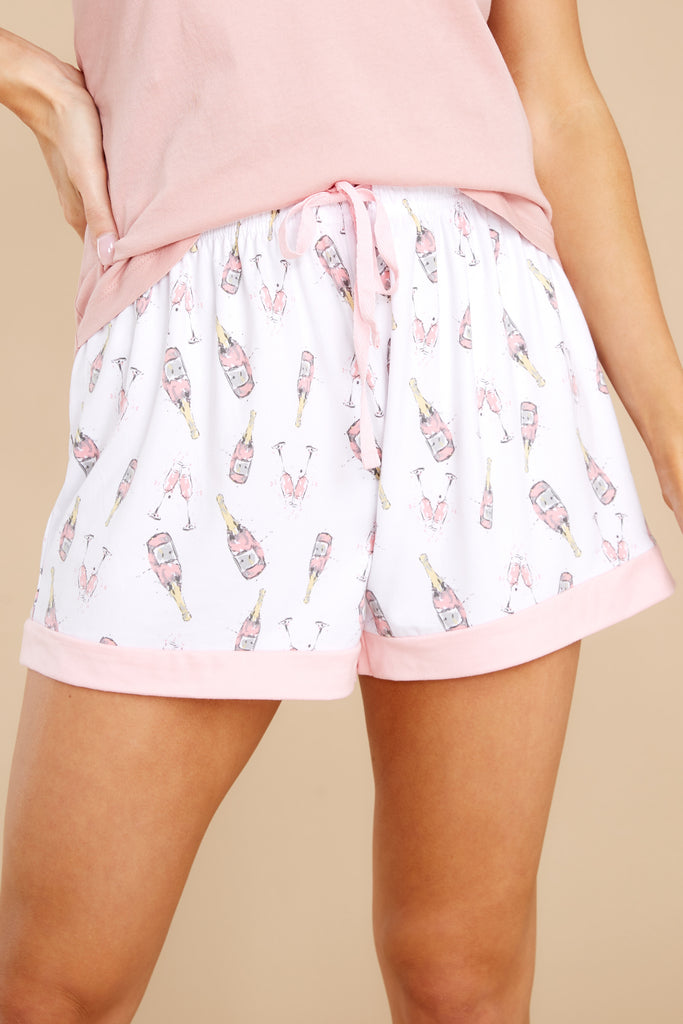 1 Don't Wake Me White Champagne Print Pajama Shorts at reddress.com