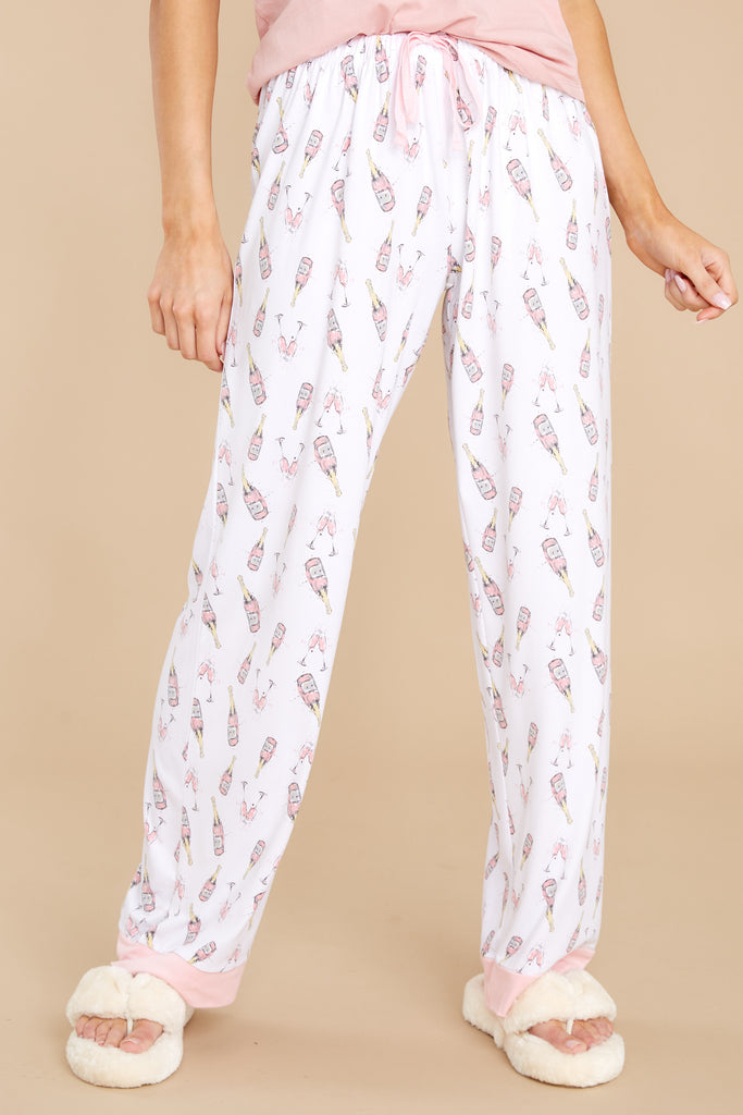 1 Sleeping In White Champagne Print Pajama Pants at reddress.com