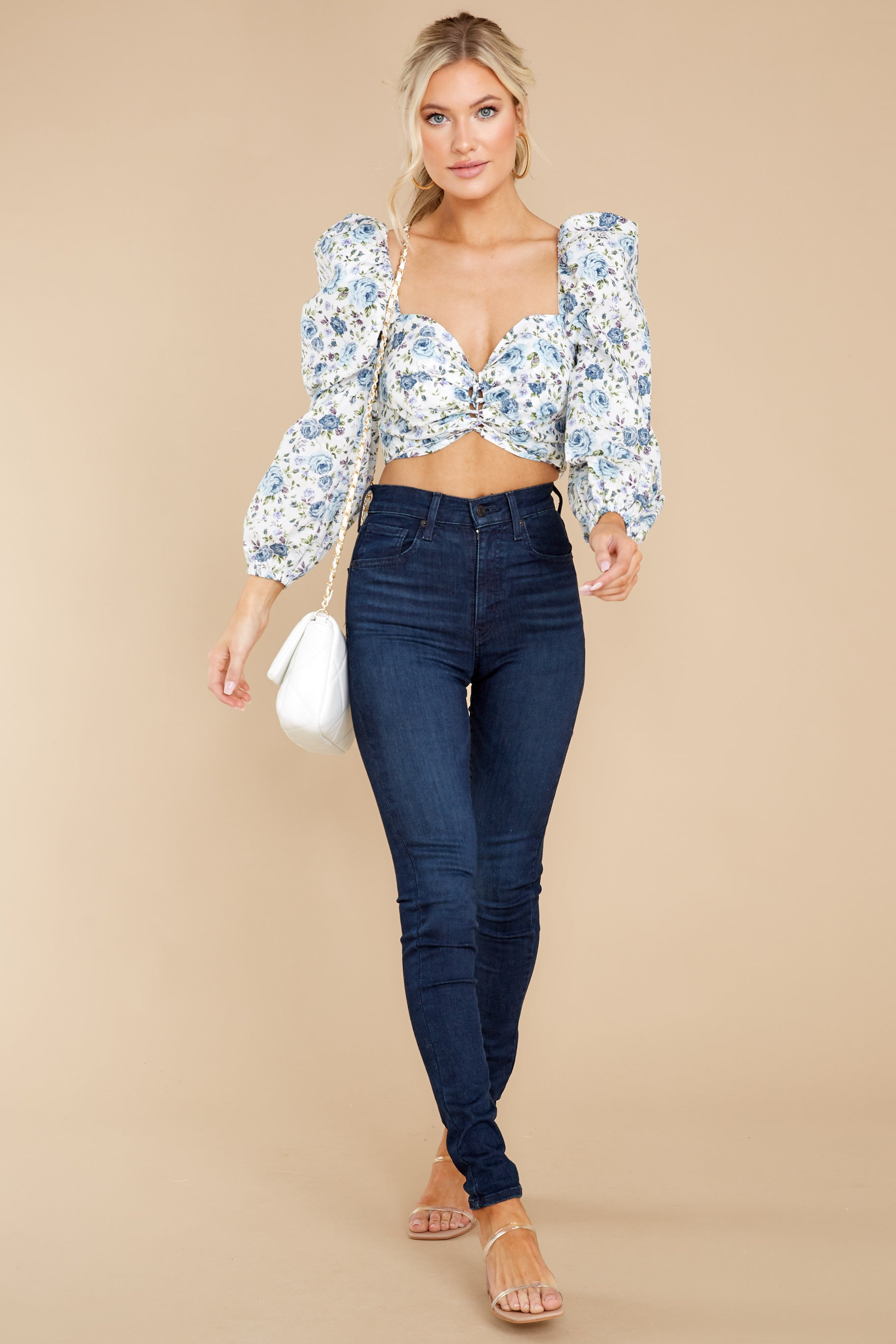 3 Fields Of Love White And Blue Floral Print Crop Top at reddress.com