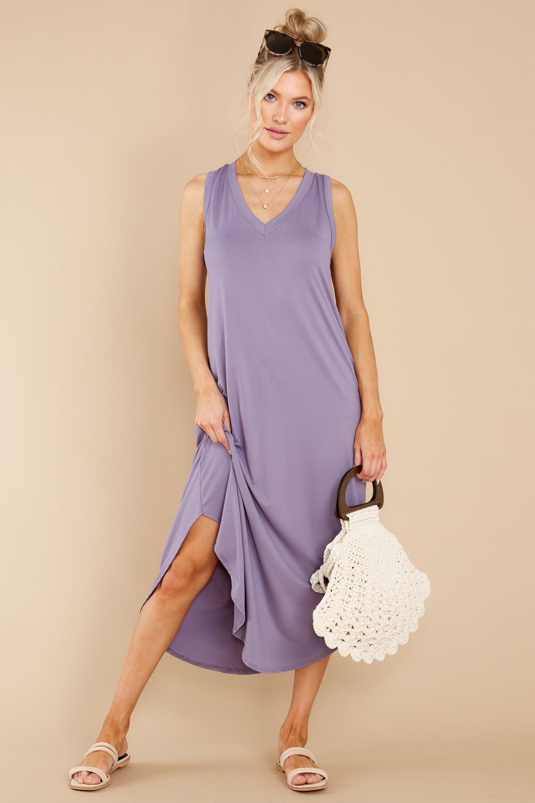 1 Just Relax Dark Lavender Midi Dress at reddress.com