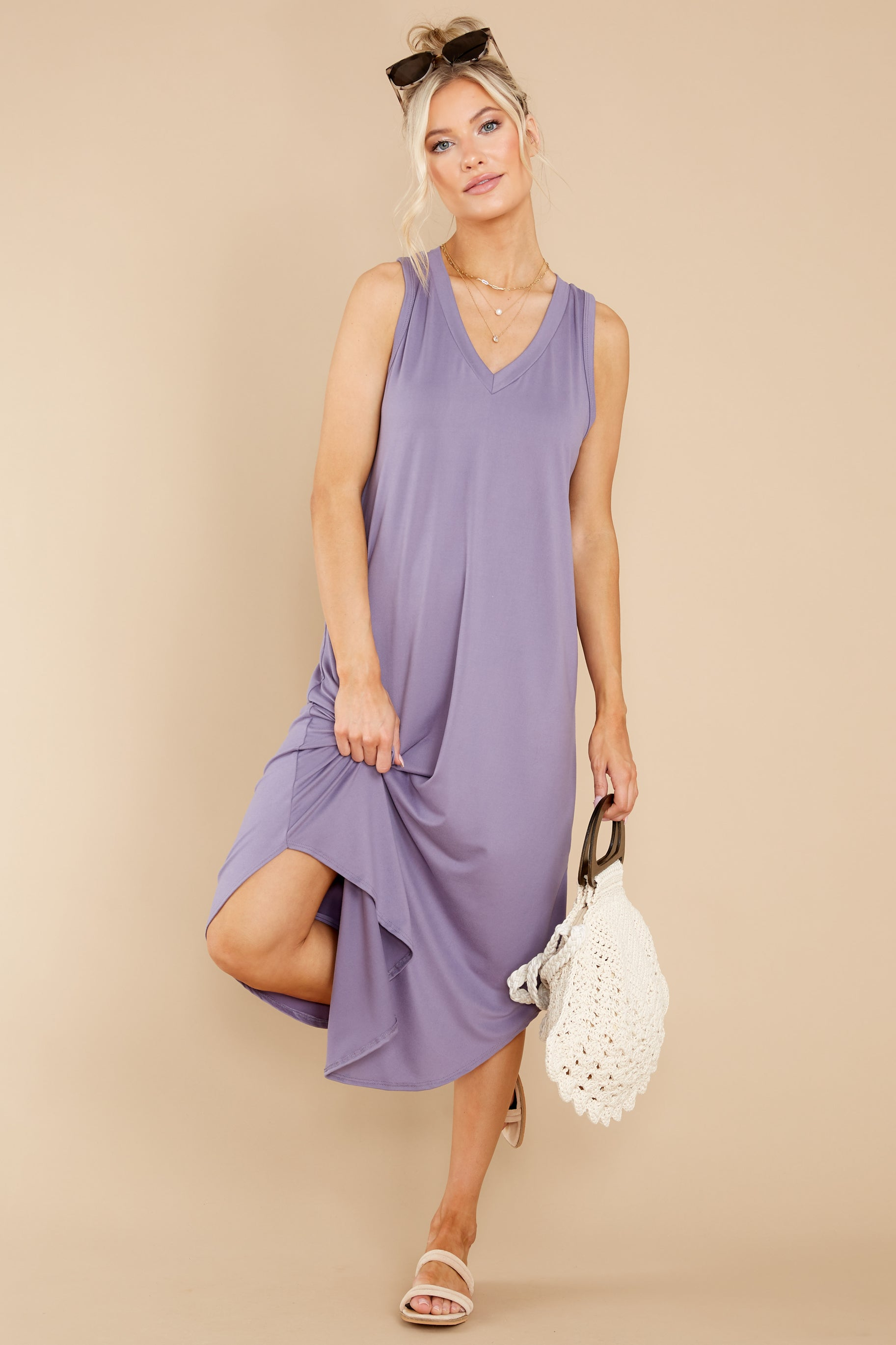 2 Just Relax Dark Lavender Midi Dress at reddress.com
