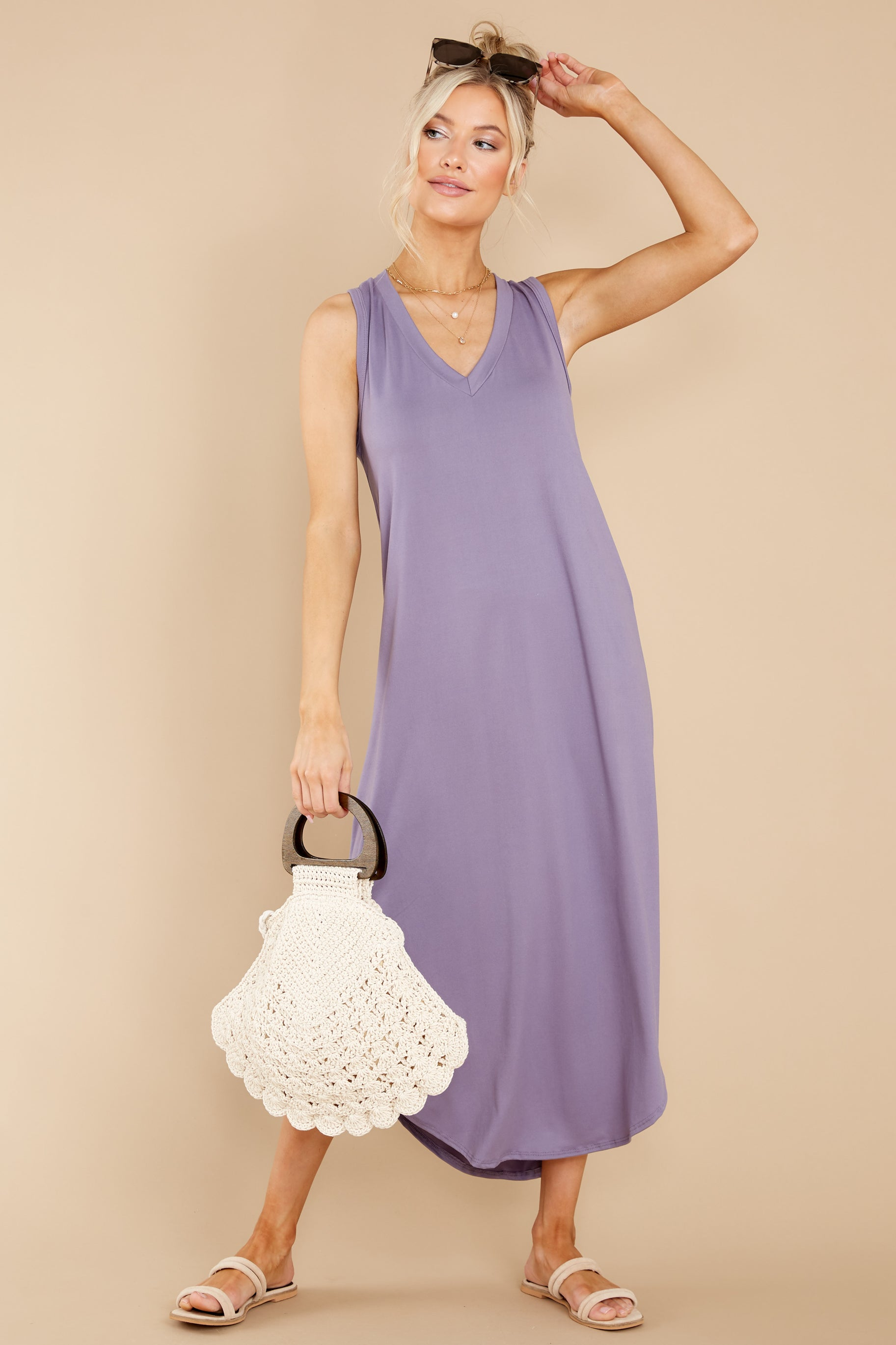 3 Just Relax Dark Lavender Midi Dress at reddress.com