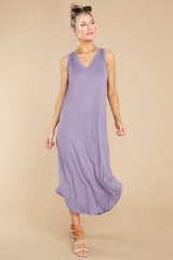 4 Just Relax Dark Lavender Midi Dress at reddress.com