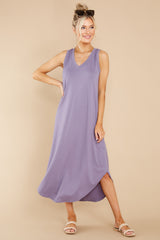 5 Just Relax Dark Lavender Midi Dress at reddress.com