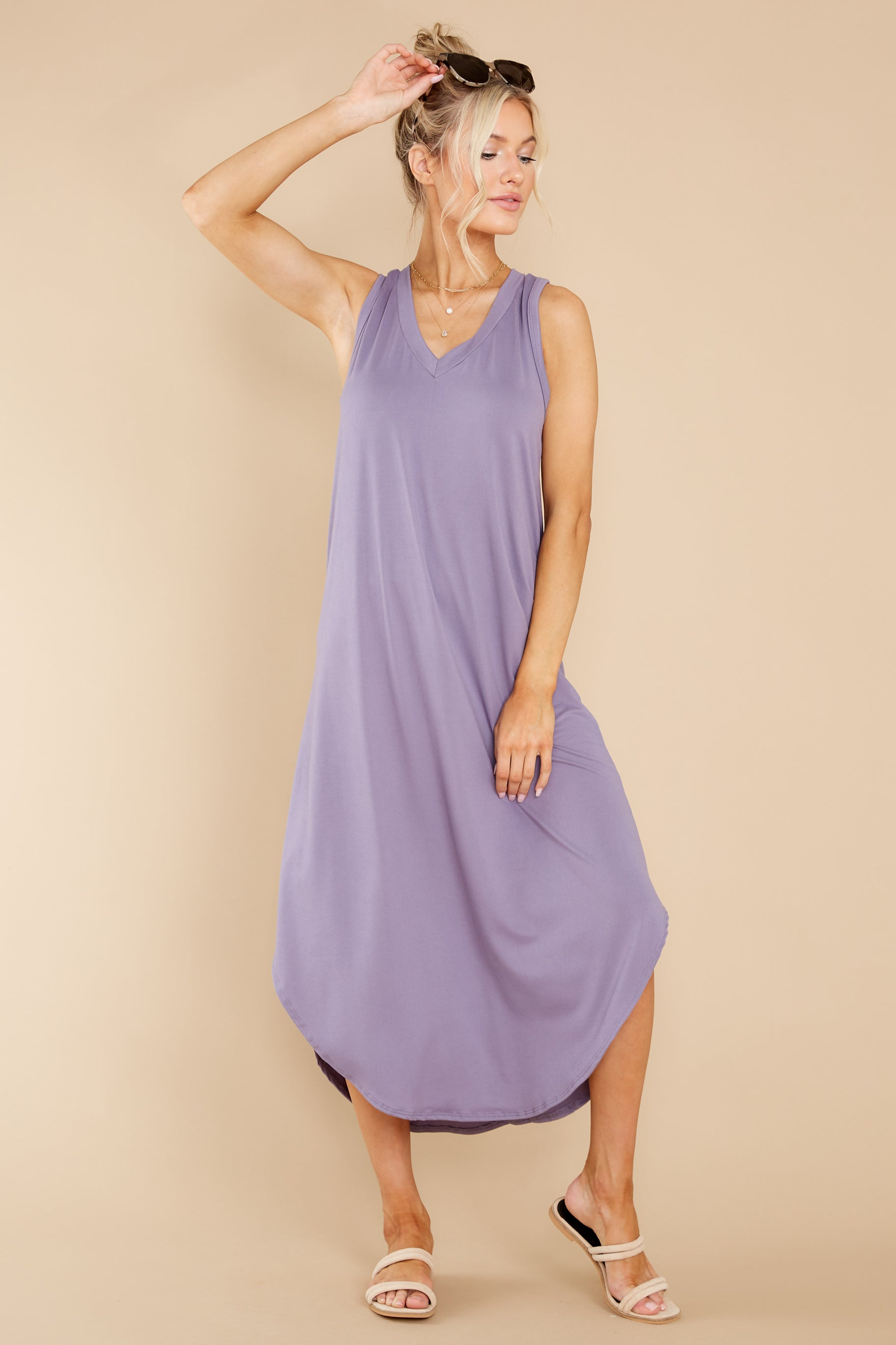 6 Just Relax Dark Lavender Midi Dress at reddress.com
