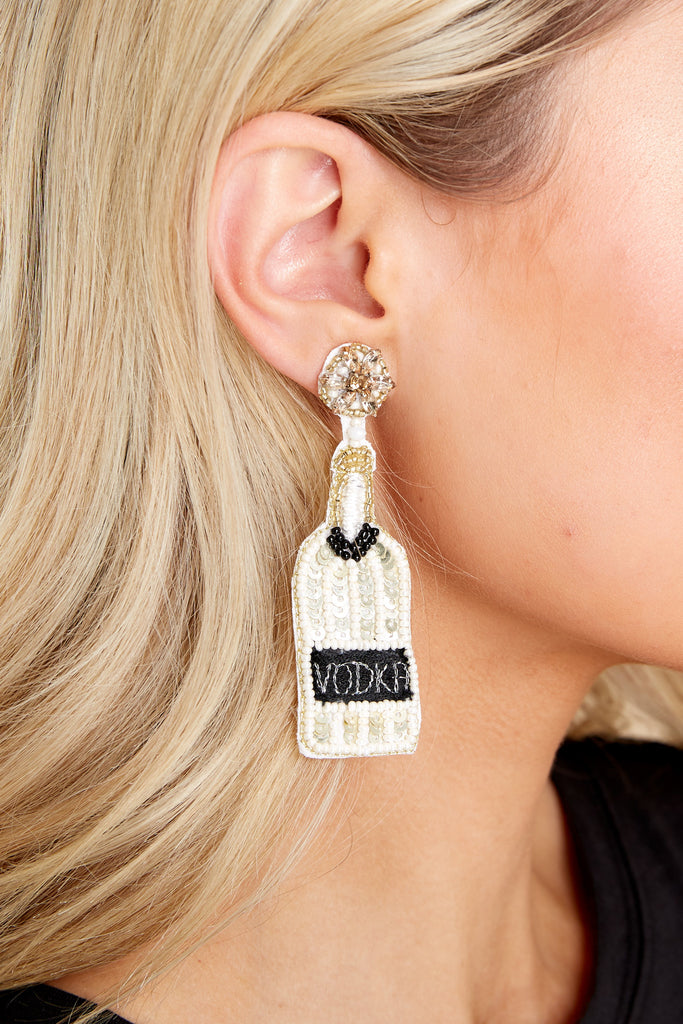 1 Prosecco Nights Black And Gold Beaded Earrings at reddress.com
