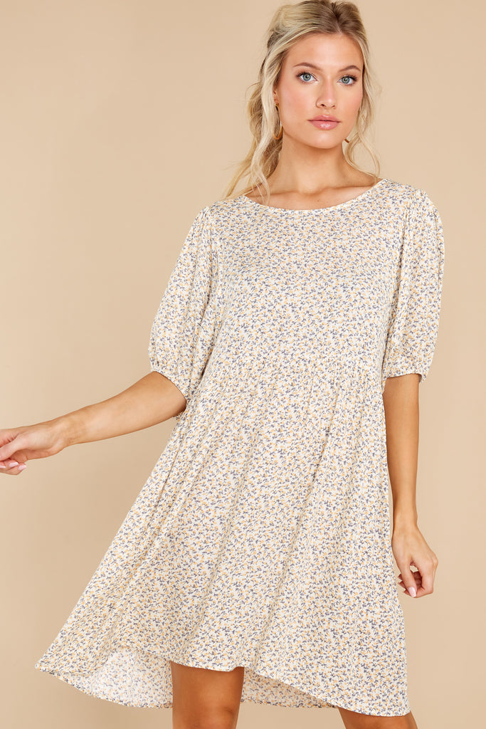 1 Daffodil Days Yellow Floral Print Dress at reddress.com