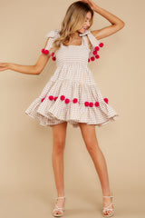 3 Pippa Beige Gingham Pom Pom Dress at reddress.com