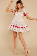 2 Pippa Beige Gingham Pom Pom Dress at reddress.com