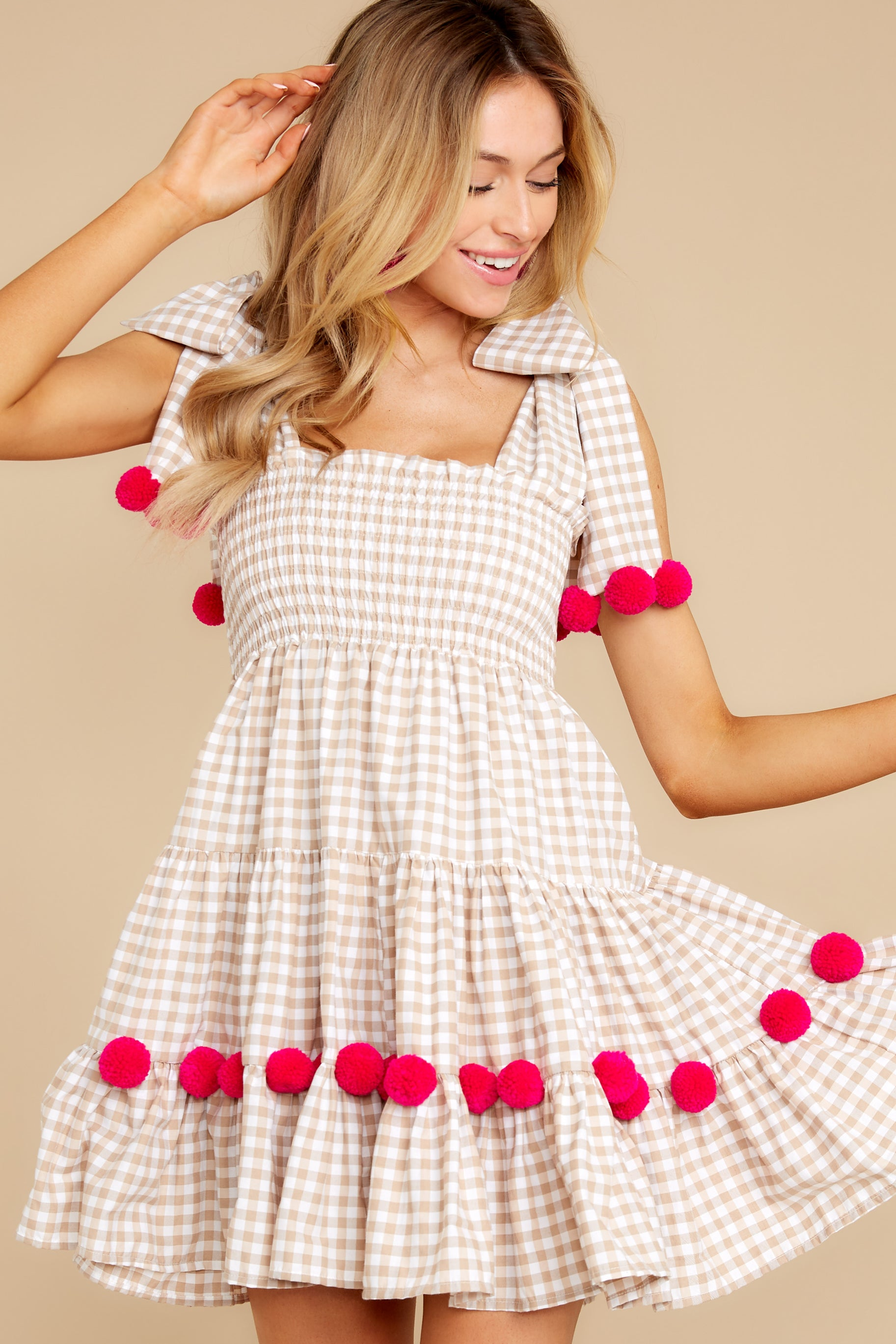 1 Pippa Beige Gingham Pom Pom Dress at reddress.com