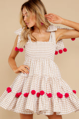 6 Pippa Beige Gingham Pom Pom Dress at reddress.com