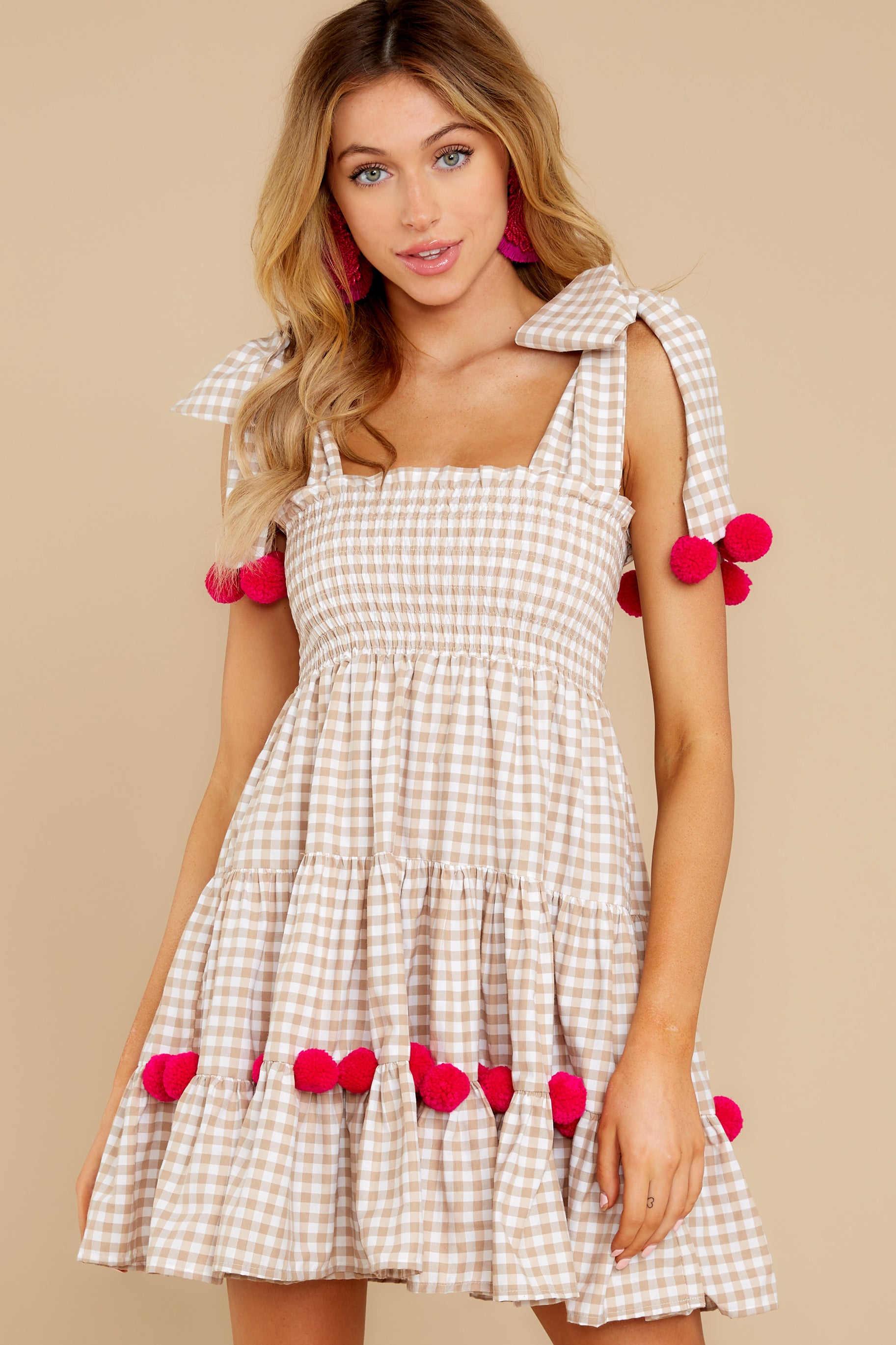 4 Pippa Beige Gingham Pom Pom Dress at reddress.com