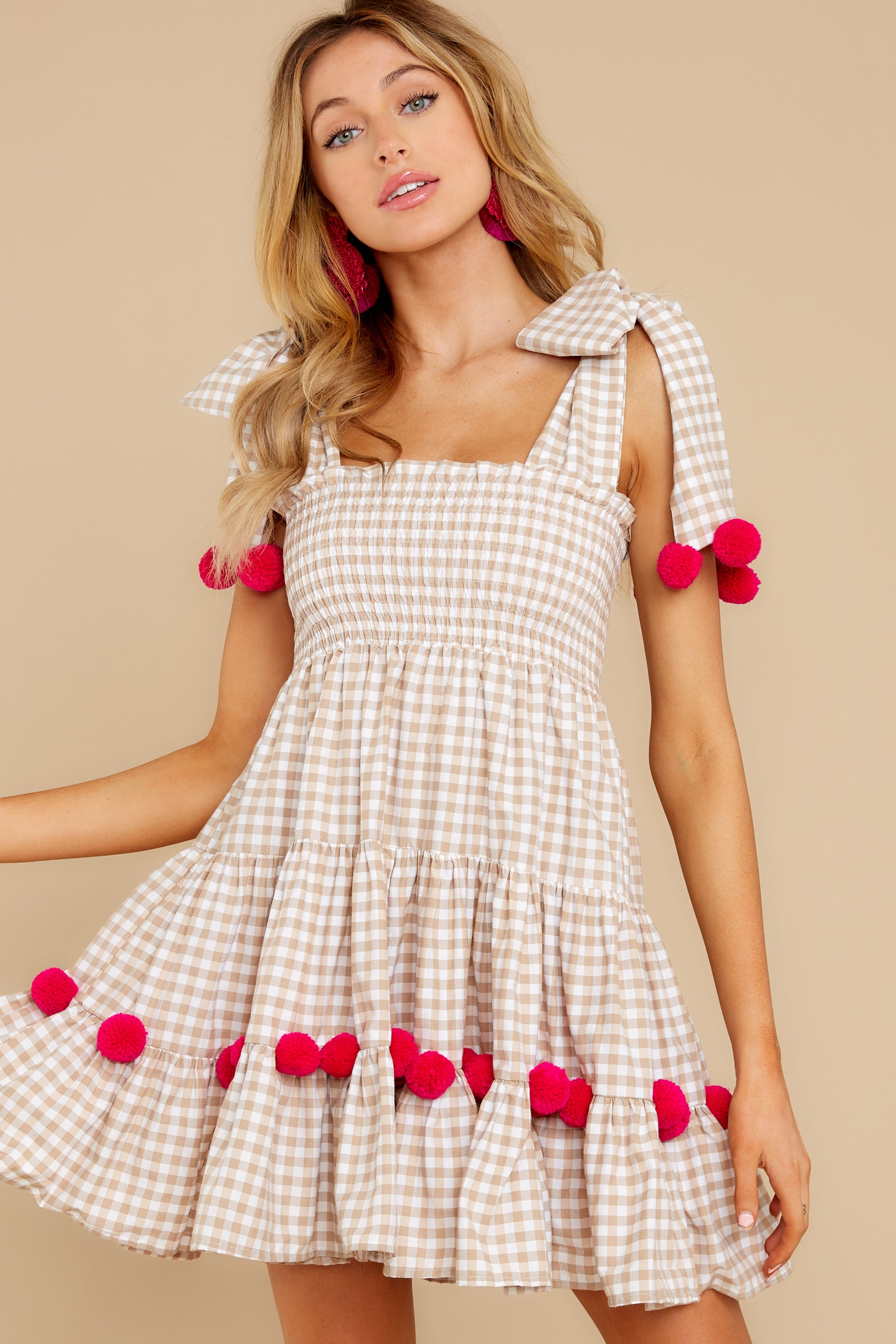 5 Pippa Beige Gingham Pom Pom Dress at reddress.com