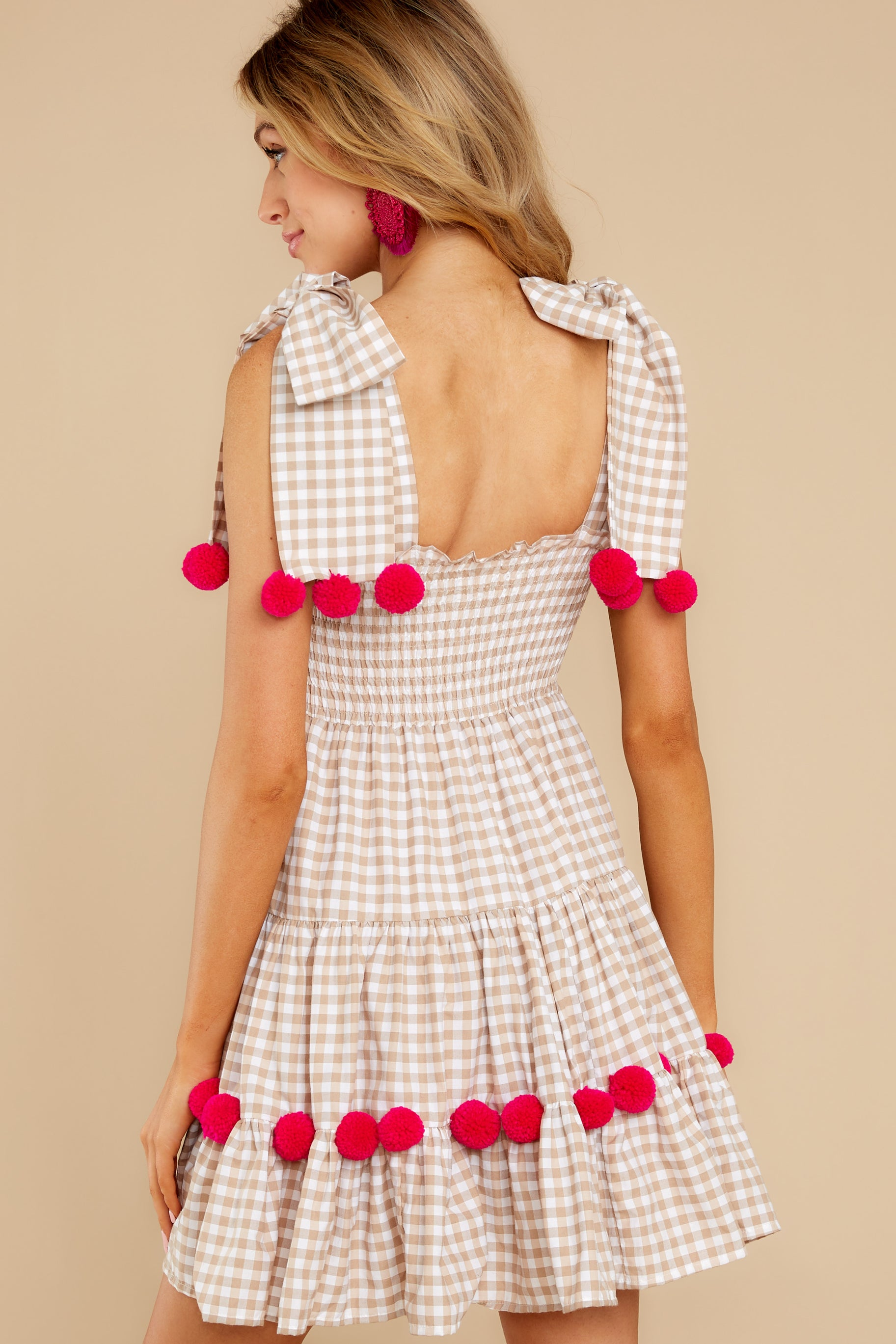7 Pippa Beige Gingham Pom Pom Dress at reddress.com