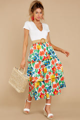 6 On Your Bright Side White Floral Print Midi Skirt at reddress.com