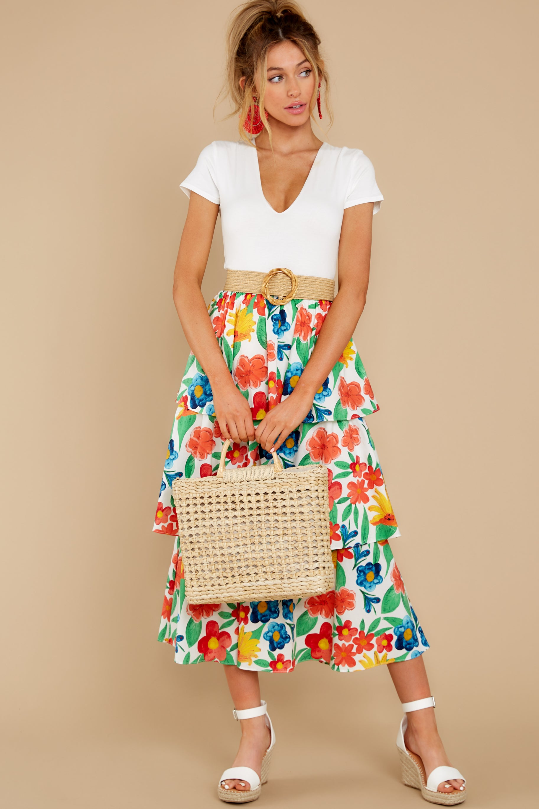 7 On Your Bright Side White Floral Print Midi Skirt at reddress.com
