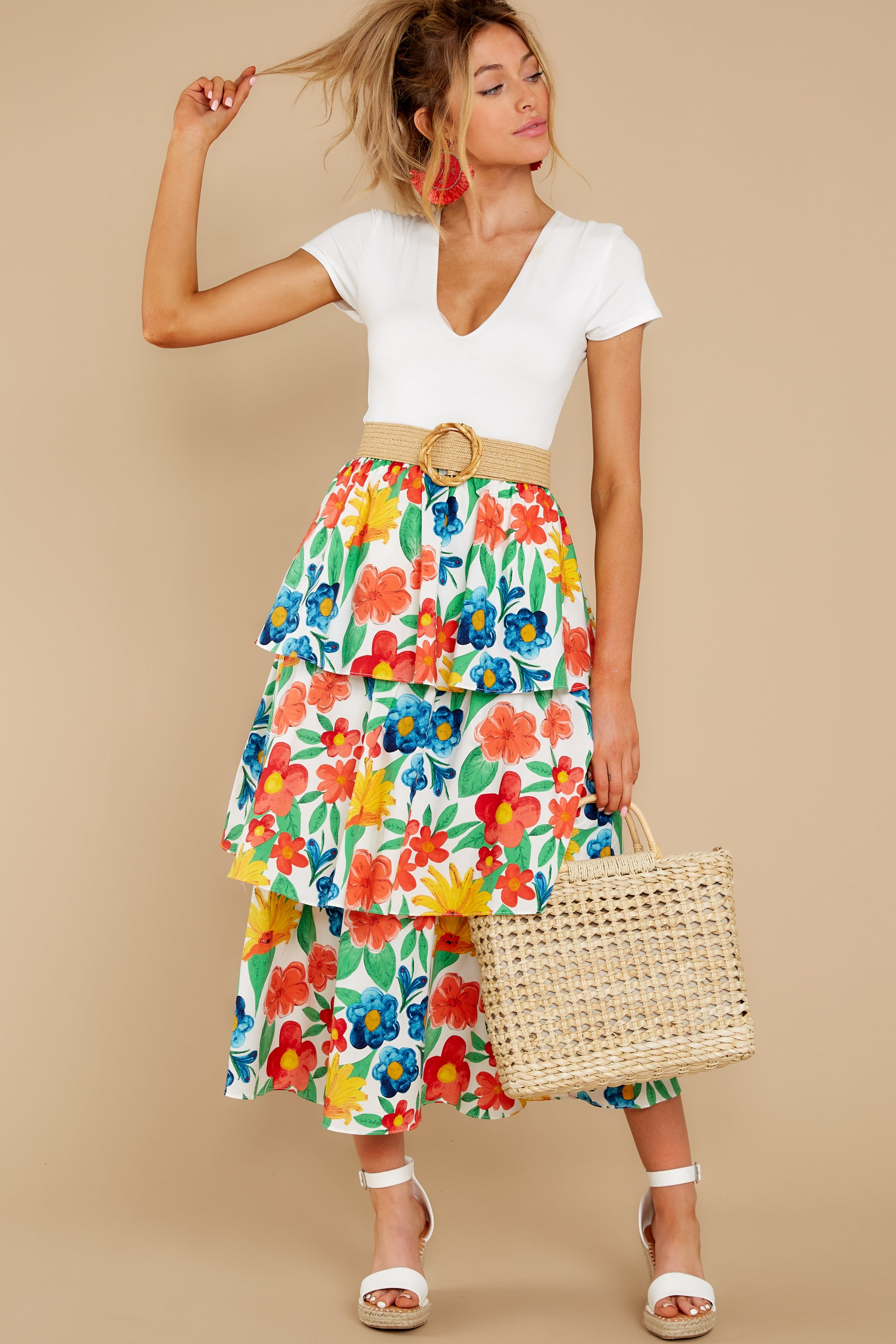 8 On Your Bright Side White Floral Print Midi Skirt at reddress.com