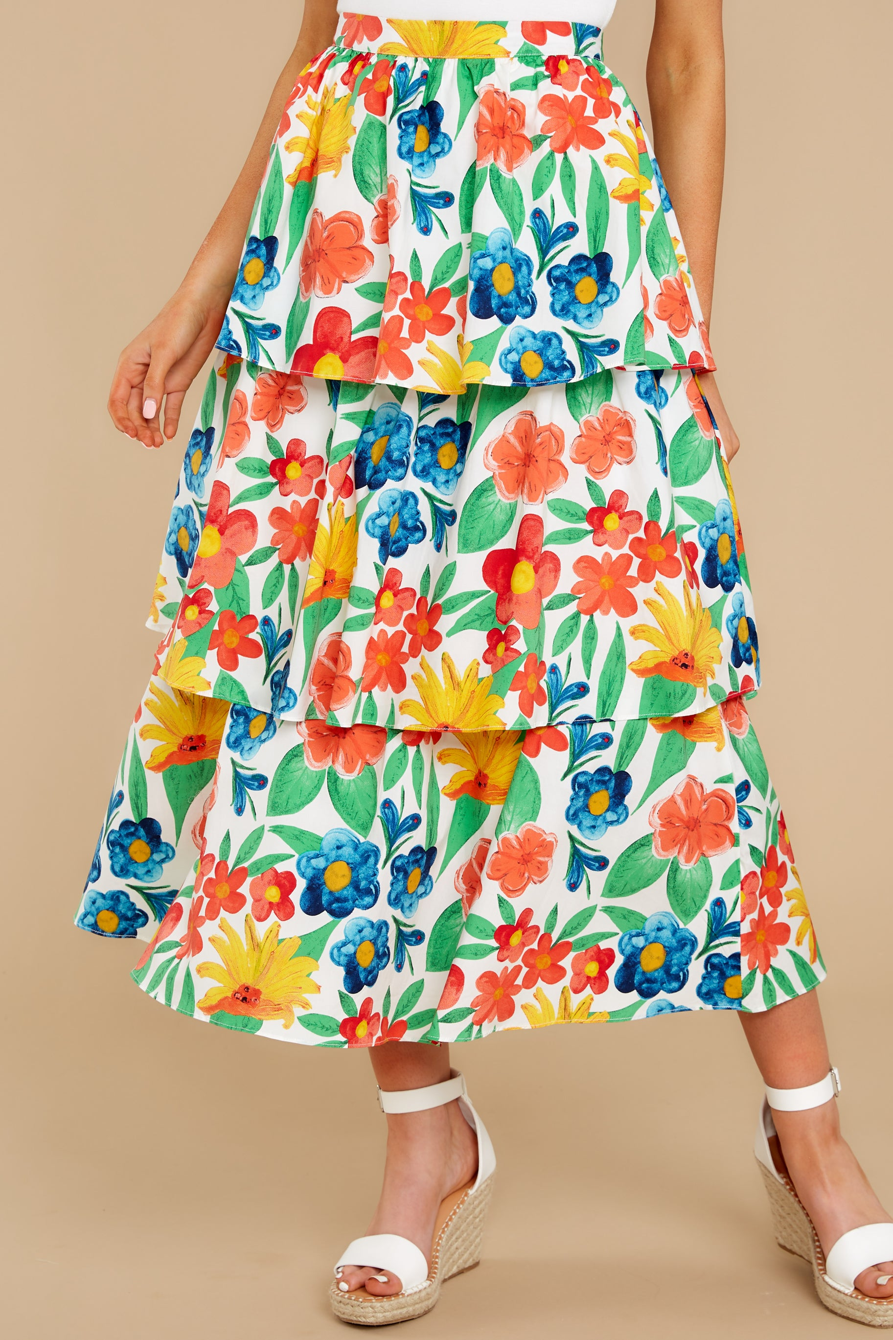 2 On Your Bright Side White Floral Print Midi Skirt at reddress.com