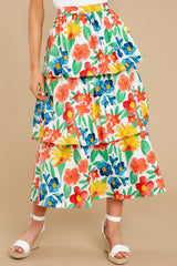 3 On Your Bright Side White Floral Print Midi Skirt at reddress.com