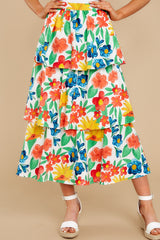1 On Your Bright Side White Floral Print Midi Skirt at reddress.com