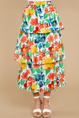 4 On Your Bright Side White Floral Print Midi Skirt at reddress.com