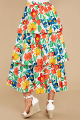 5 On Your Bright Side White Floral Print Midi Skirt at reddress.com