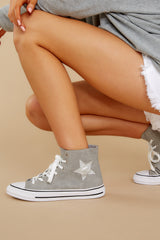 6 Get On Your Level Grey High Top Sneakers at reddress.com
