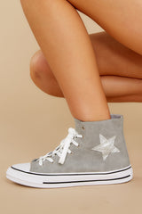 7 Get On Your Level Grey High Top Sneakers at reddress.com