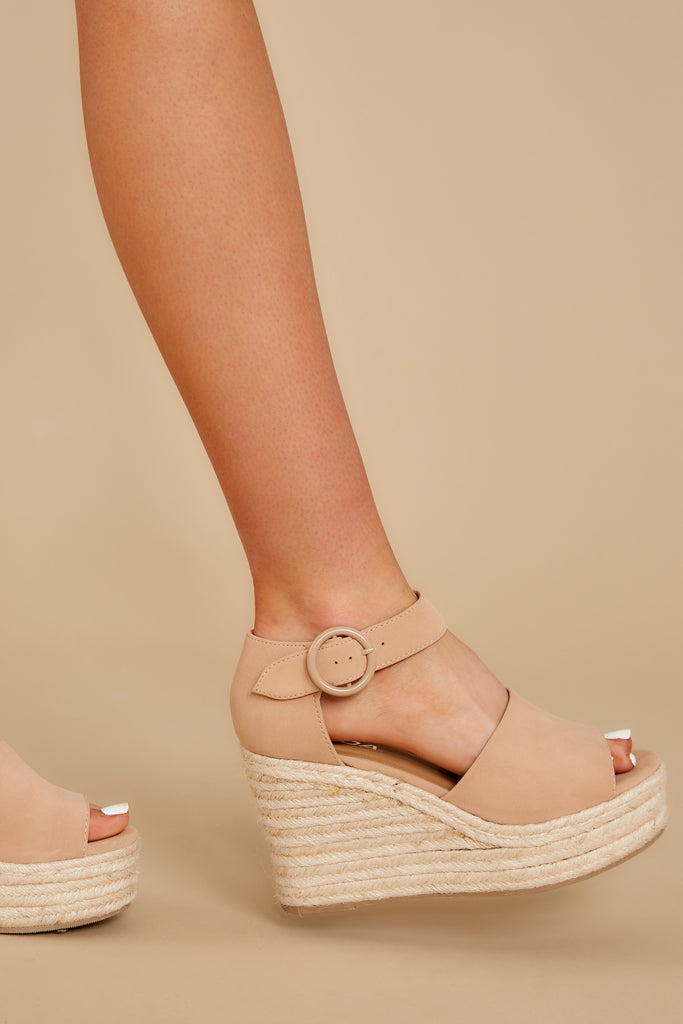 1 Need A Raise Nude Wedges at reddressboutique.com