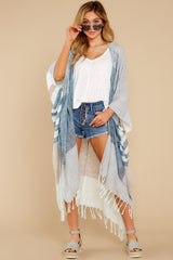 4 Moments So Chic Blue Multi Stripe Kimono at reddress.com