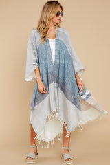 3 Moments So Chic Blue Multi Stripe Kimono at reddress.com