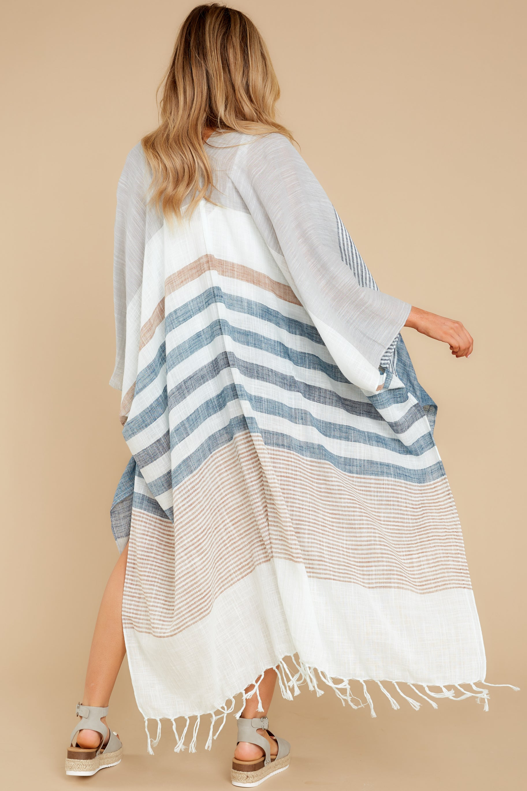 5 Moments So Chic Blue Multi Stripe Kimono at reddress.com
