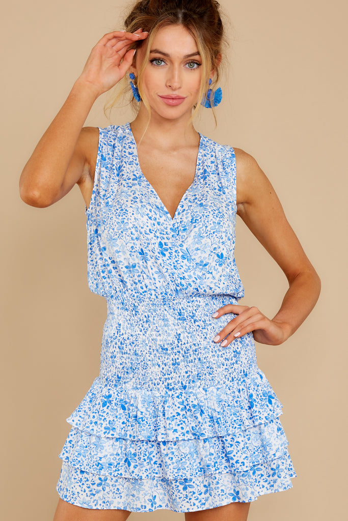 7 Girl On Fire Blue Floral Print Dress at reddress.com