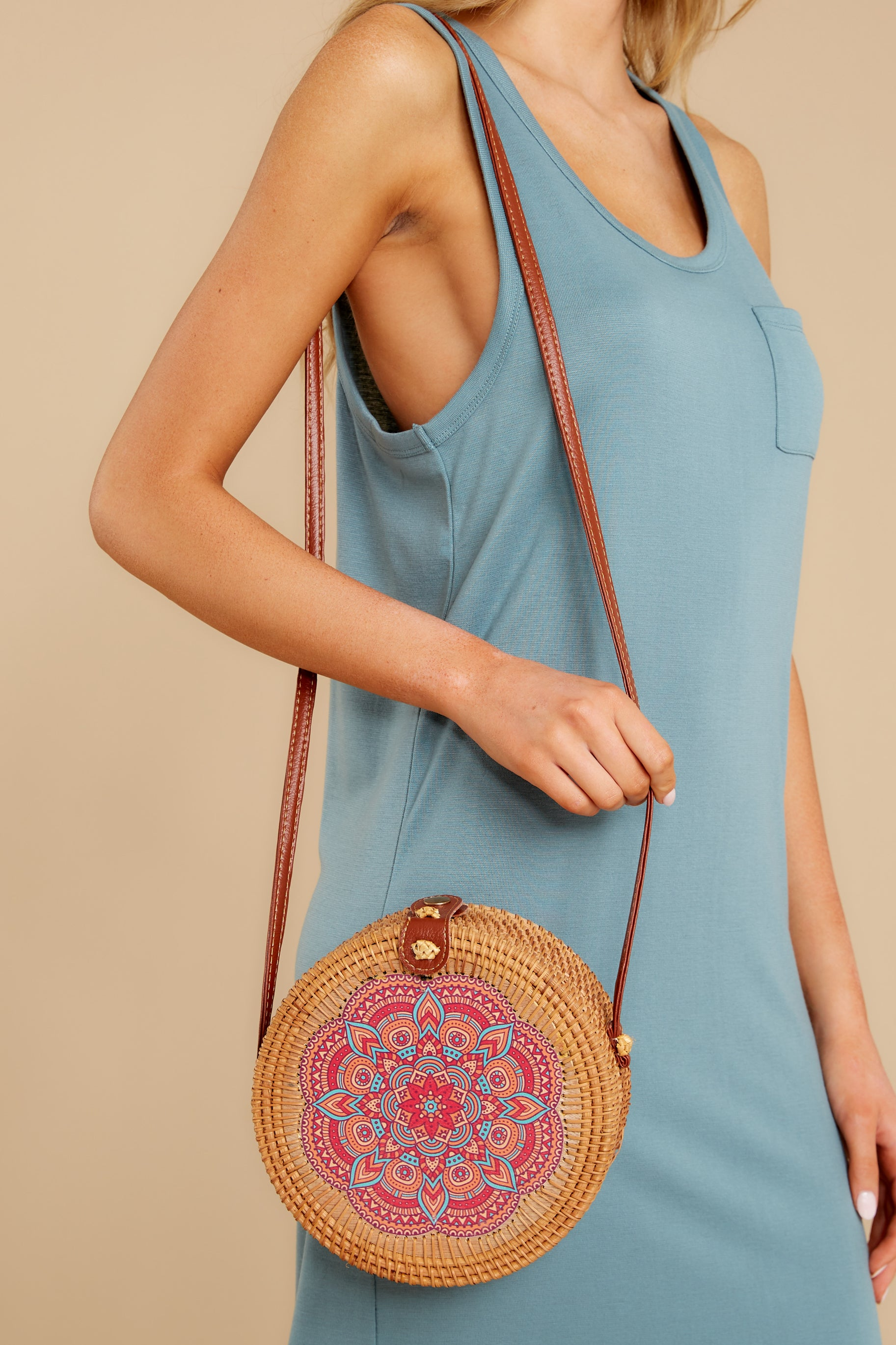 2 A Little Charmed Pink Printed Tan Round Bag at reddress.com
