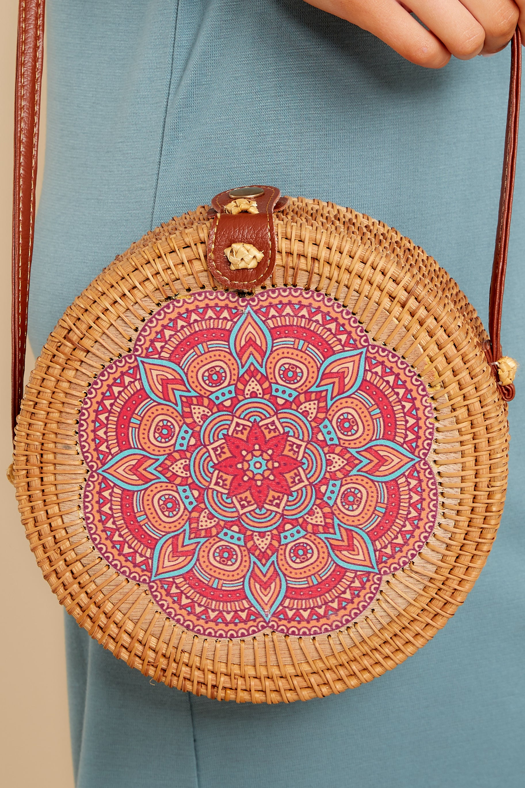 1 A Little Charmed Pink Printed Tan Round Bag at reddress.com