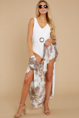 2 Wrapped In Luxe Brown Multi Tie Dye Kimono at reddress.com