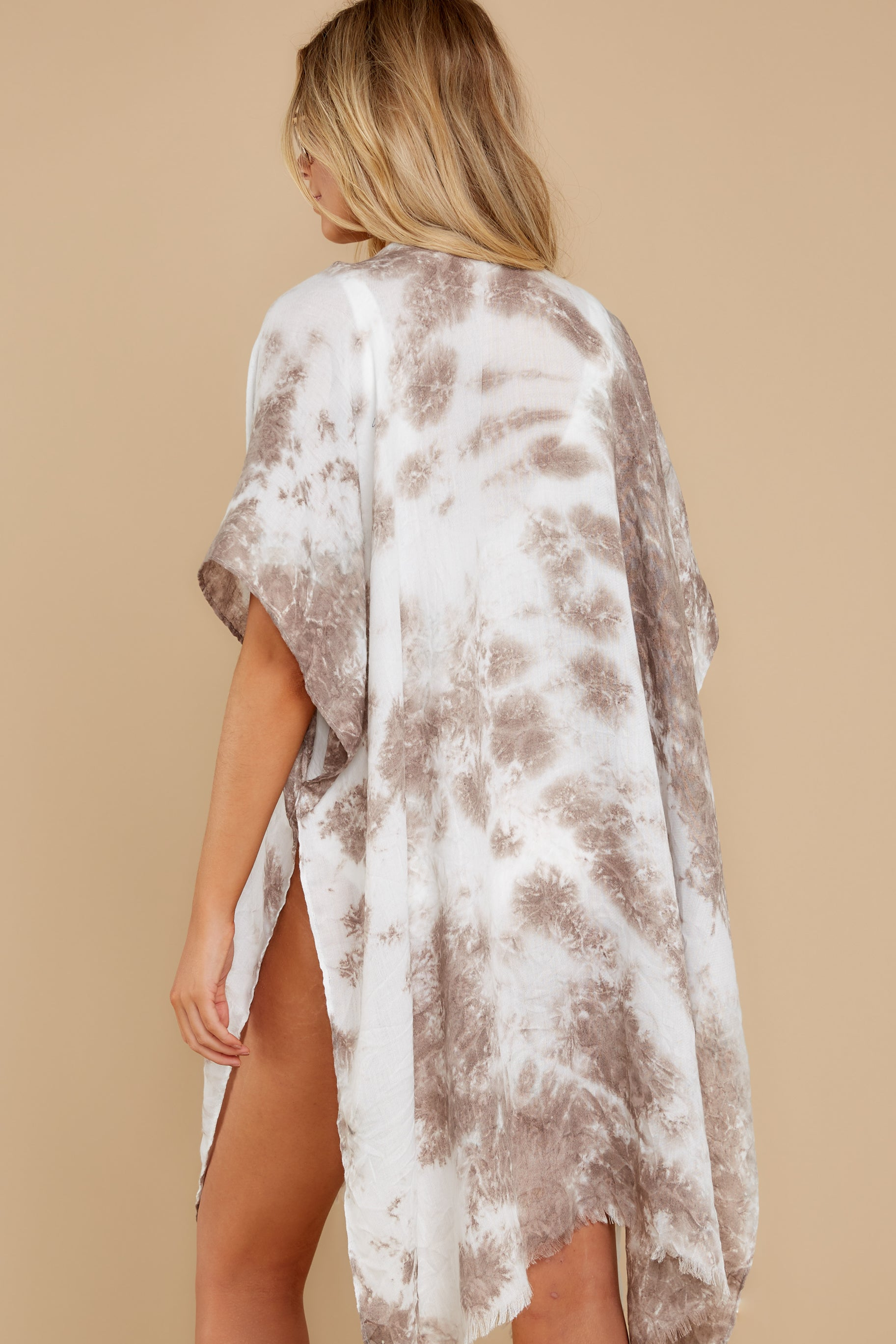 7 Wrapped In Luxe Brown Multi Tie Dye Kimono at reddress.com