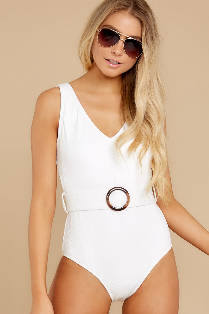1 California Surf White One Piece Swimsuit at reddress.com