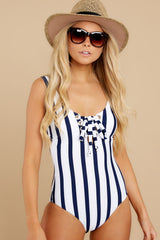5 River Street Summer Blue Stripe One Piece Swimsuit at reddress.com