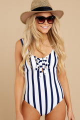 1 River Street Summer Blue Stripe One Piece Swimsuit at reddress.com