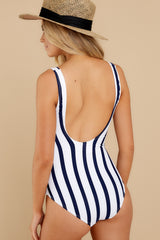 7 River Street Summer Blue Stripe One Piece Swimsuit at reddress.com
