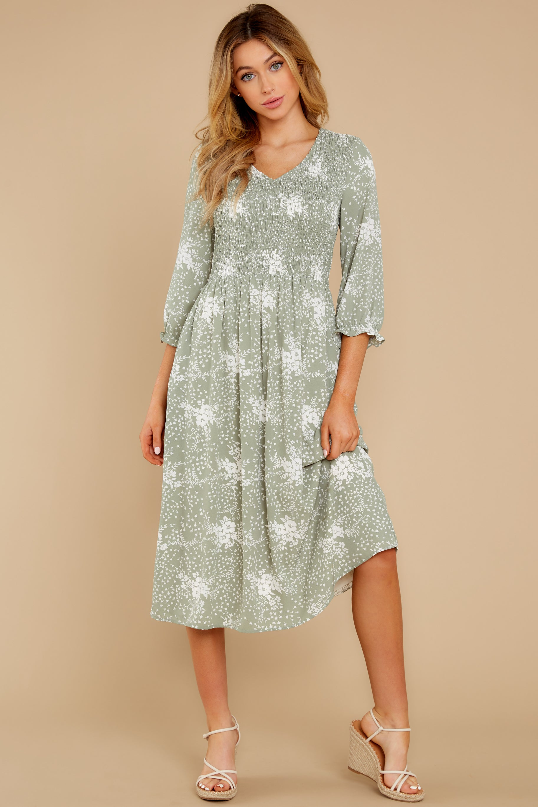 5 Above It All Sage Print Midi Dress at reddress.com