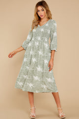 6 Above It All Sage Print Midi Dress at reddress.com