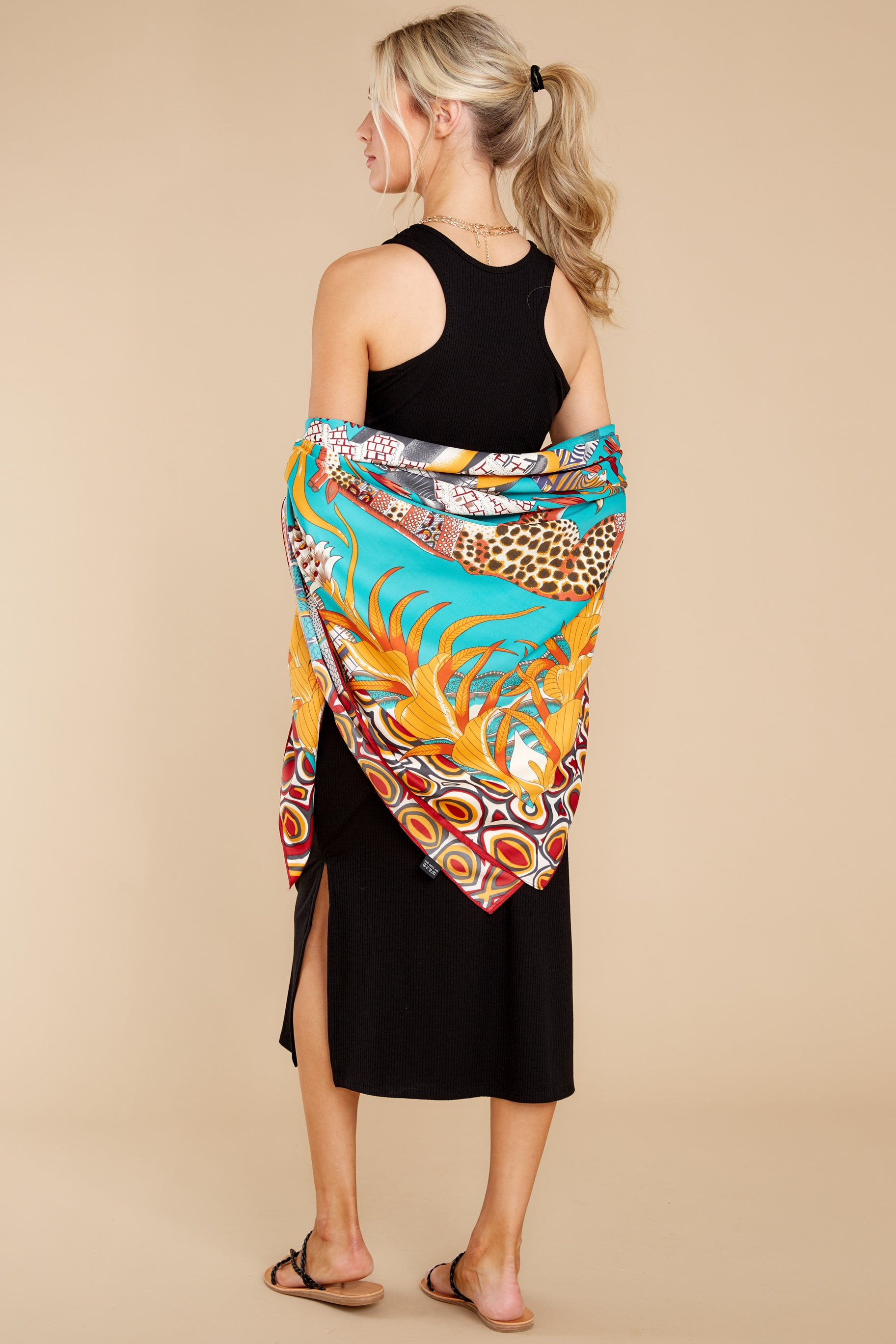 3 Safari Adventure Turquoise Multi Print Scarf at reddress.com