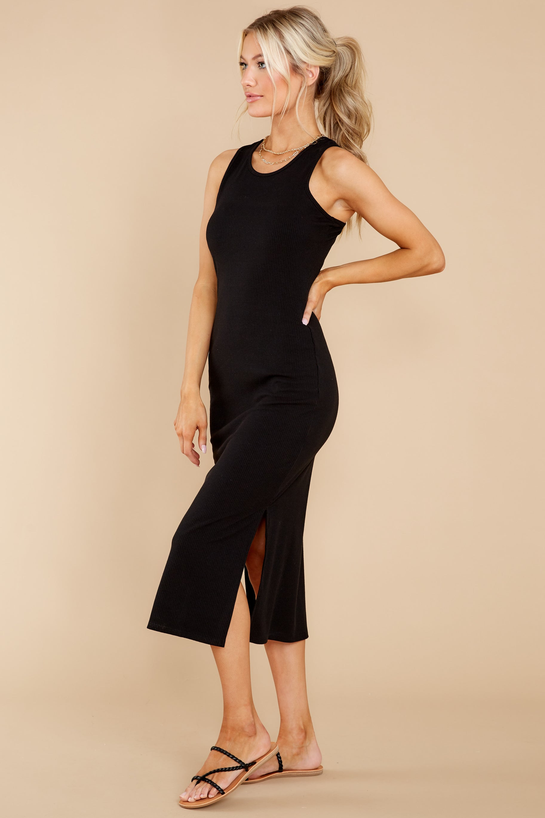 4 Creative Genius Black Midi Dress (BACKORDER JULY) at reddress.com