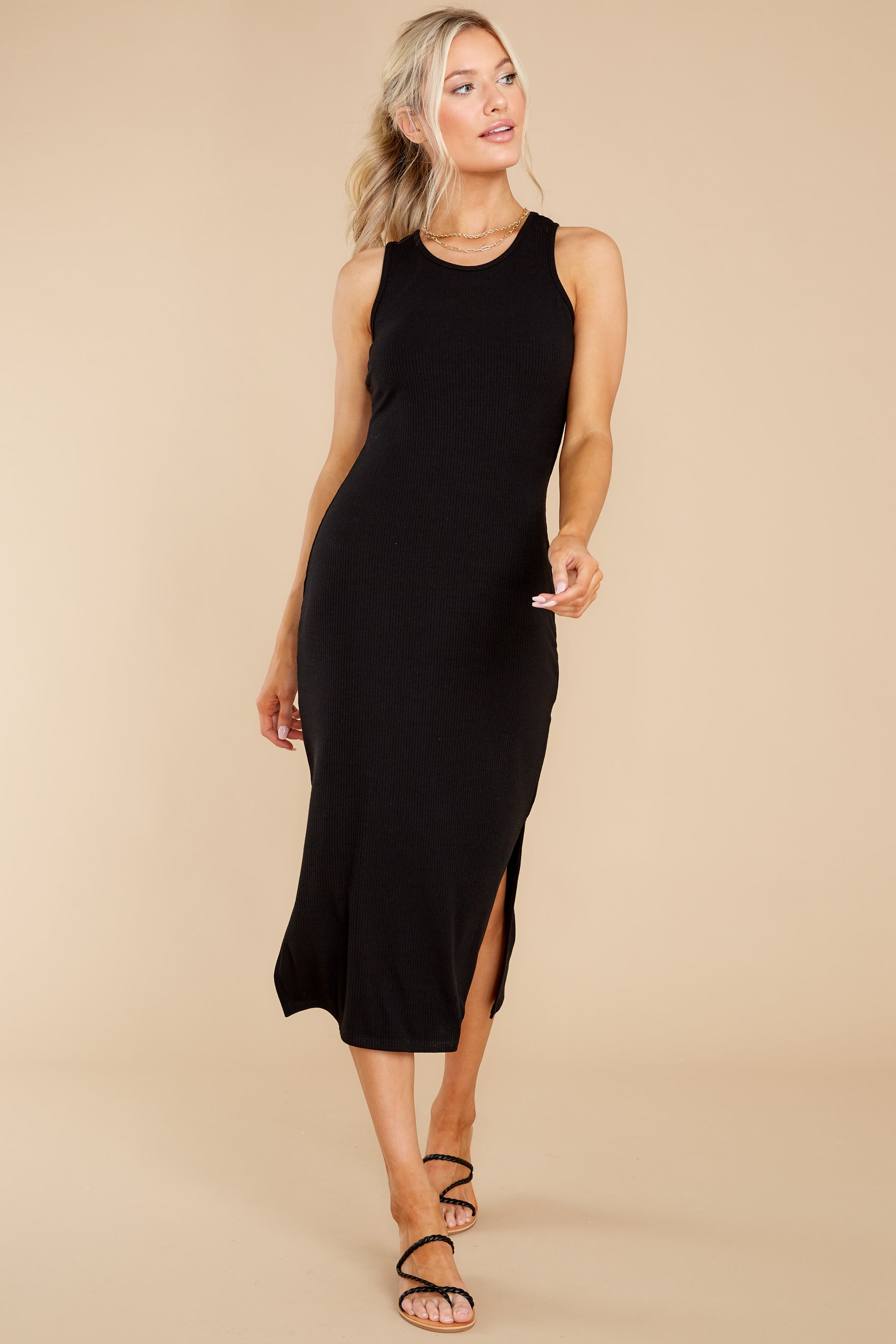 5 Creative Genius Black Midi Dress (BACKORDER JULY) at reddress.com