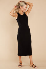 6 Creative Genius Black Midi Dress (BACKORDER JULY) at reddress.com
