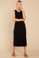 7 Creative Genius Black Midi Dress (BACKORDER JULY) at reddress.com